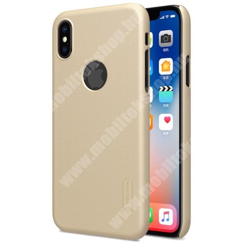 APPLE iPhone XS NILLKIN SUPER FROSTED műanyag védő tok / hátlap - képernyővédő fólia - érdes felület - ARANY - APPLE iPhone X / APPLE iPhone XS - GYÁRI