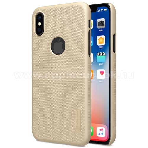 APPLE iPhone XS NILLKIN SUPER FROSTED műanyag védő tok / hátlap - képernyővédő fólia - érdes felület - ARANY - APPLE iPhone X / APPLE iPhone XS - GYÁRI