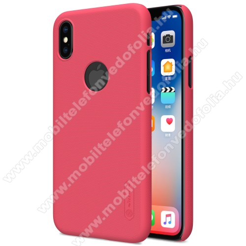 NILLKIN SUPER FROSTED műanyag védő tok / hátlap - képernyővédő fólia - érdes felület - PIROS - APPLE iPhone X / APPLE iPhone XS - GYÁRI