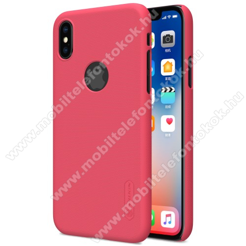 APPLE iPhone XS NILLKIN SUPER FROSTED műanyag védő tok / hátlap - képernyővédő fólia - érdes felület - PIROS - APPLE iPhone X / APPLE iPhone XS - GYÁRI