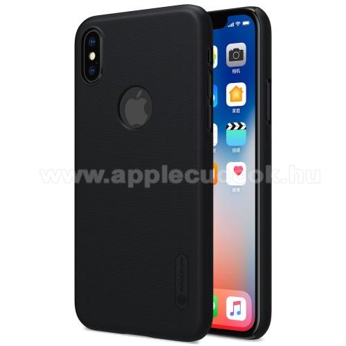 APPLE iPhone XSNILLKIN SUPER FROSTED műanyag védő tok / hátlap - képernyővédő fólia - érdes felület - FEKETE - APPLE iPhone X / APPLE iPhone XS - GYÁRI