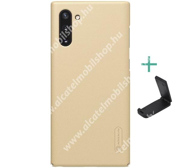 NILLKIN SUPER FROSTED műanyag védő tok / hátlap - érdes felület - ARANY - asztali tartó állvánnyal! - SAMSUNG SM-N970F Galaxy Note10 / SAMSUNG SM-N971U Galaxy Note10 5G - GYÁRI