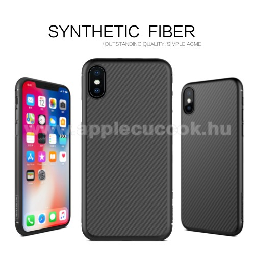 NILLKIN SYNTHETIC FIBER műanyag védő tok / hátlap - FEKETE - karbon mintás - APPLE iPhone X / APPLE iPhone XS - GYÁRI
