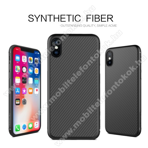 APPLE iPhone XS NILLKIN SYNTHETIC FIBER műanyag védő tok / hátlap - FEKETE - karbon mintás - APPLE iPhone X / APPLE iPhone XS - GYÁRI