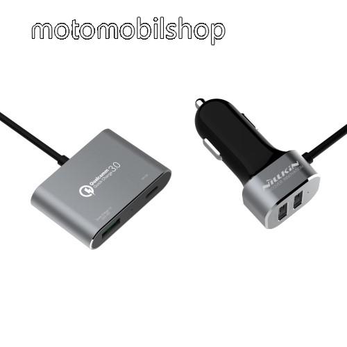 MOTOROLA U6 NILLKIN szivargyújtó töltő/autós töltő - 2x5V/2.4A USB, 1x Type-C 5V/3.0A, 1xQC3.0 quick charge USB 3.6V-6.5V/3A 6.5V-9V/2A 9V-12V/1.5A(Max) - FEKETE - GYÁRI