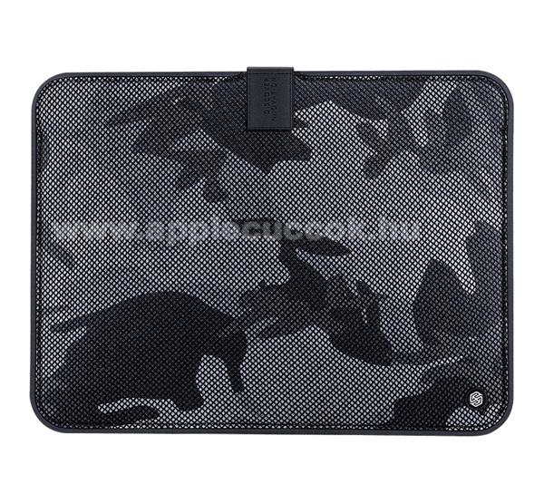 APPLE iPad Pro 12.9 (2017)NILLKIN Tablet / Laptop UNIVERZÁLIS tok / táska - FEKETE - TEREPMINTA - POUCH, Szövet, mágneses, ütődésálló, cseppálló - ERŐS VÉDELEM! - 13,3
