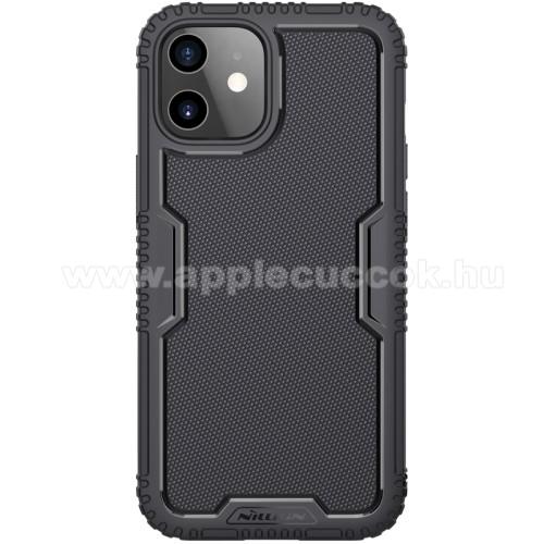 NILLKIN TACTICS szilikon védő tok / hátlap - csúszásgátló, erősített sarkok, ERŐS VÉDELEM - FEKETE - APPLE iPhone 12 mini - GYÁRI
