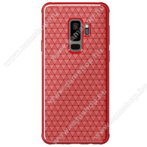 NILLKIN Weave szilikon védő tok / hátlap - PIROS - erősített sarkok, háromszög mintás - SAMSUNG SM-G965 Galaxy S9+ - GYÁRI