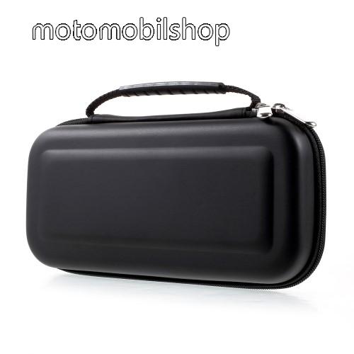 Nintendo Switch védőtok, táska - belső puha bélés, belső hálós zseb, 10db kártyatartó - FEKETE