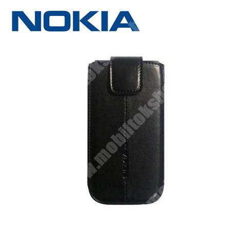 NOKIA CP-552 tok álló, bőr - kihúzó pánt, patentos - FEKETE - GYÁRI