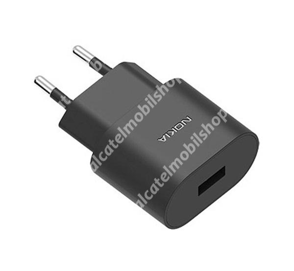 Alcatel OT-810D NOKIA hálózati töltő USB aljzat (5V / 1000mA, kábel nélkül) FEKETE - AD-5WE - GYÁRI