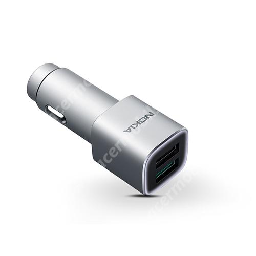 NOKIA szivargyújtós töltő / autós töltő - 2 x USB aljzat, DV 5V/2.4A, 9V/2A, 12V/1.5A, Quick Charge 3.0, kábel NÉLKÜL! - EZÜST - GYÁRI