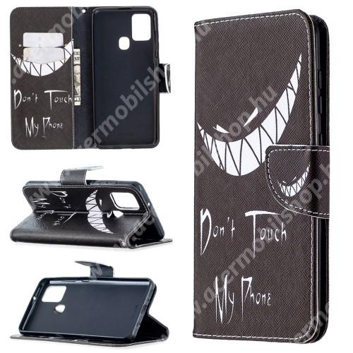 Notesz / flip mappa tok - Do not Touch My Phone MINTÁS - asztali tartó funkciós, oldalra nyíló, rejtett mágneses záródás, bankkártyatartó - SAMSUNG Galaxy A21s (SM-A217F/DS)