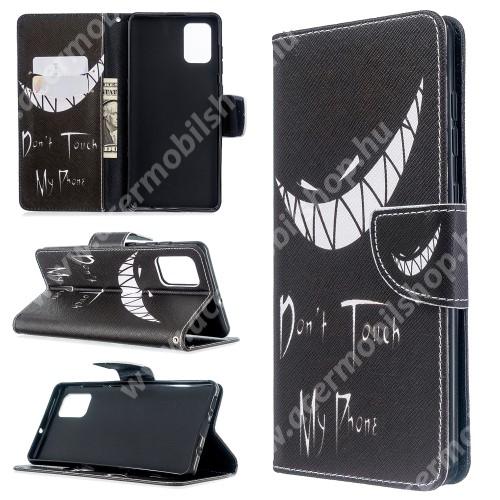 Notesz / flip mappa tok - Don no Touch My Phone mintás - asztali tartó funkciós, oldalra nyíló, rejtett mágneses záródás, bankkártyatartó - SAMSUNG Galaxy A71 (SM-A715F)