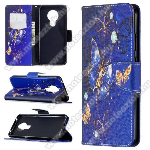 Notesz / flip mappa tok - LEPKE MINTÁS - KÉK - asztali tartó funkciós, oldalra nyíló, rejtett mágneses záródás, bankkártyatartó - NOKIA 5.3