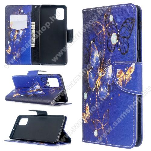 Notesz / flip mappa tok - PILLANGÓ MINTÁS - asztali tartó funkciós, oldalra nyíló, rejtett mágneses záródás, bankkártyatartó - SAMSUNG Galaxy A51 (SM-A515F)