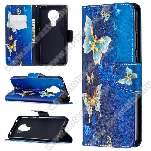Notesz / flip mappa tok - PILLANGÓ MINTÁS - KÉK - asztali tartó funkciós, oldalra nyíló, rejtett mágneses záródás, bankkártyatartó - NOKIA 5.3
