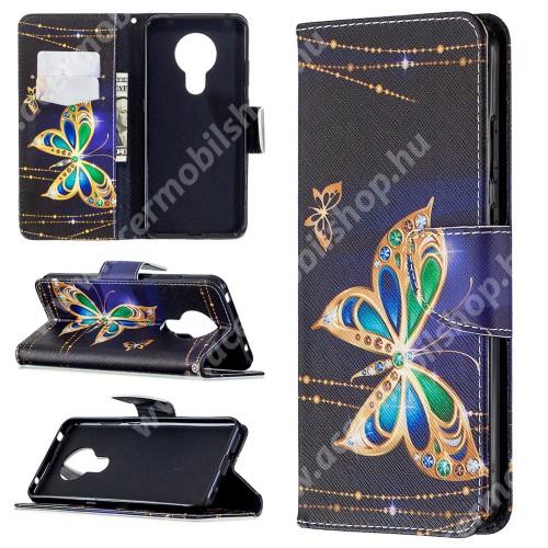 Notesz / flip mappa tok - PILLANGÓ MINTÁS - SÖTÉTKÉK - asztali tartó funkciós, oldalra nyíló, rejtett mágneses záródás, bankkártyatartó - NOKIA 5.3