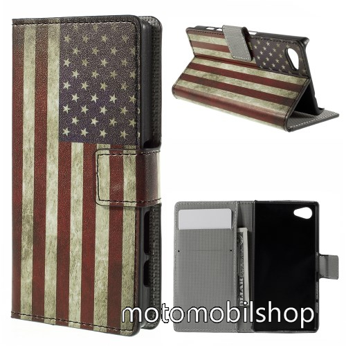 Notesz / flip mappa tok - USA ZÁSZLÓ MINTÁS - asztali tartó funkciós, oldalra nyíló, rejtett mágneses záródás, bankkártyatartó - SONY Xperia Z5 Compact