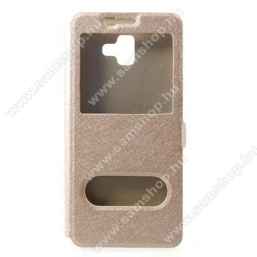 Notesz / flip tok - ARANY - oldalra nyíló ablakos flip cover, asztali tartó funkció, mágneses záródás, hívásfelvétel, műanyag belső - SAMSUNG SM-J610F Galaxy J6+