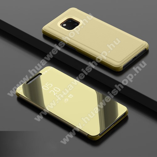 Notesz / flip tok - ARANY - oldalra nyíló áttetsző tükrös flip cover, asztali tartó funkció, műanyag belső - HUAWEI Mate 20 Pro