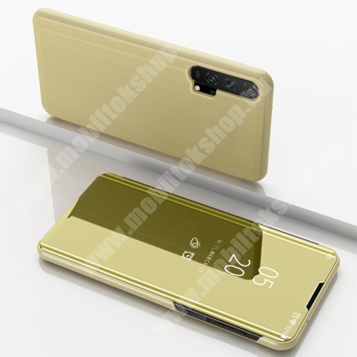 Notesz / flip tok - ARANY - oldalra nyíló áttetsző tükrös flip cover, asztali tartó funkció, műanyag belső - HUAWEI Honor 20 Pro