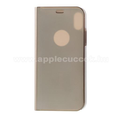 Notesz / flip tok - ARANY - oldalra nyíló áttetsző flip cover, asztali tartó funkció - APPLE iPhone X / APPLE iPhone XS