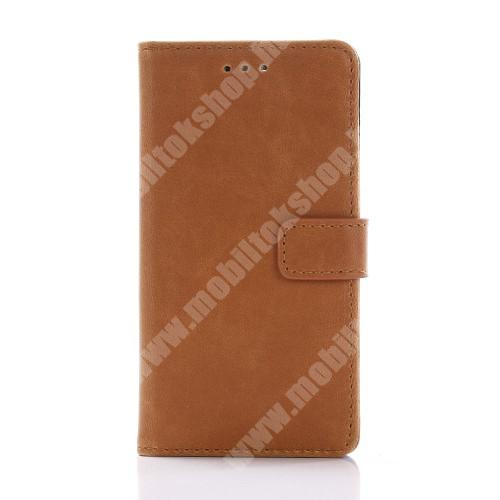 Notesz / flip tok - BARNA - oldalra nyíló, rejtett mágneses, álló, asztali tartó funkció, bankkártya tartó - Sony Xperia X Compact (F5321)