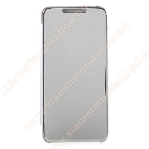 Notesz / flip tok - EZÜST - oldalra nyíló áttetsző flip cover, asztali tartó funkció - Xiaomi Pocophone F1