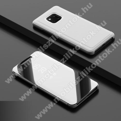 Notesz / flip tok - EZÜST - oldalra nyíló áttetsző tükrös flip cover, asztali tartó funkció, műanyag belső - HUAWEI Mate 20 Pro