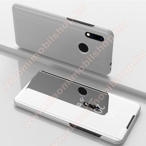 Xiaomi Redmi Note 7Notesz / flip tok - EZÜST - oldalra nyíló áttetsző tükrös flip cover, asztali tartó funkció, műanyag belső - Xiaomi Redmi Note 7 / Xiaomi Redmi Note 7 Pro / Xiaomi Redmi Note 7S