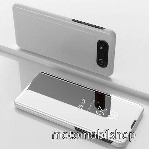Notesz / flip tok - EZÜST - oldalra nyíló áttetsző tükrös flip cover, asztali tartó funkció, műanyag belső - SAMSUNG SM-A805F Galaxy A80 / SAMSUNG SM-A905F Galaxy A90