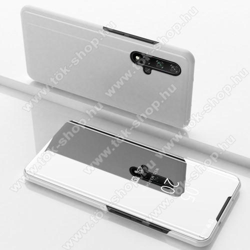 Notesz / flip tok - EZÜST - oldalra nyíló áttetsző tükrös flip cover, asztali tartó funkció, műanyag belső - HUAWEI Honor 20 / HUAWEI Honor 20S / HUAWEI nova 5T
