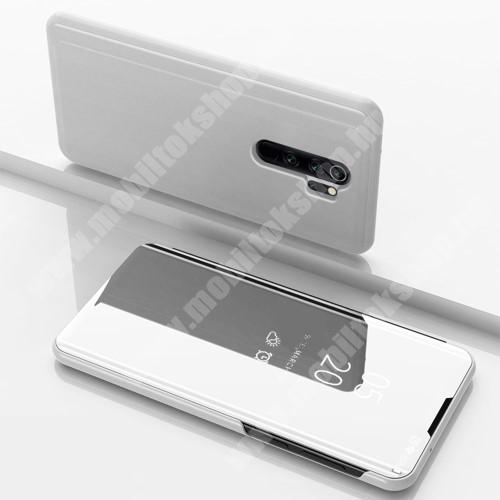 Notesz / flip tok - EZÜST - oldalra nyíló áttetsző tükrös flip cover, asztali tartó funkció, műanyag belső - Xiaomi Redmi Note 8 Pro