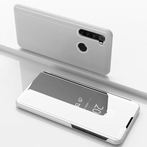 Notesz / flip tok - EZÜST - oldalra nyíló áttetsző tükrös flip cover, asztali tartó funkció, műanyag belső - Xiaomi Redmi Note 8