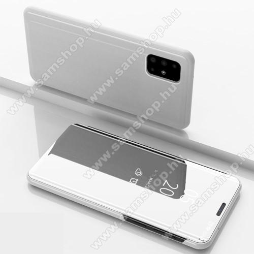 Notesz / flip tok - EZÜST - oldalra nyíló áttetsző tükrös flip cover, asztali tartó funkció, műanyag belső - SAMSUNG Galaxy A51 (SM-A515F)