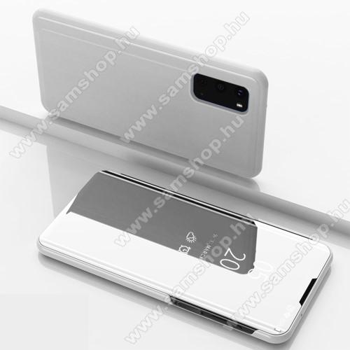 Notesz / flip tok - EZÜST - oldalra nyíló áttetsző tükrös flip cover, asztali tartó funkció, műanyag belső - SAMSUNG Galaxy S20 (SM-G980F) / SAMSUNG Galaxy S20 5G (SM-G981)