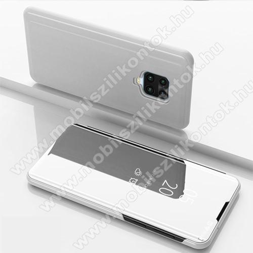 Notesz / flip tok - EZÜST - oldalra nyíló áttetsző tükrös flip cover, asztali tartó funkció, műanyag belső - Xiaomi Redmi Note 9S / Redmi Note 9 Pro / Redmi Note 9 Pro Max / Poco M2 Pro
