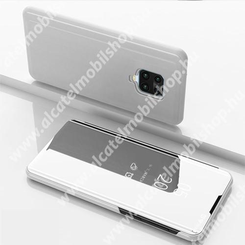 Notesz / flip tok - EZÜST - oldalra nyíló áttetsző tükrös flip cover, asztali tartó funkció, műanyag belső - Xiaomi Redmi Note 9S / Xiaomi Redmi Note 9 Pro / Xiaomi Redmi Note 9 Pro Max