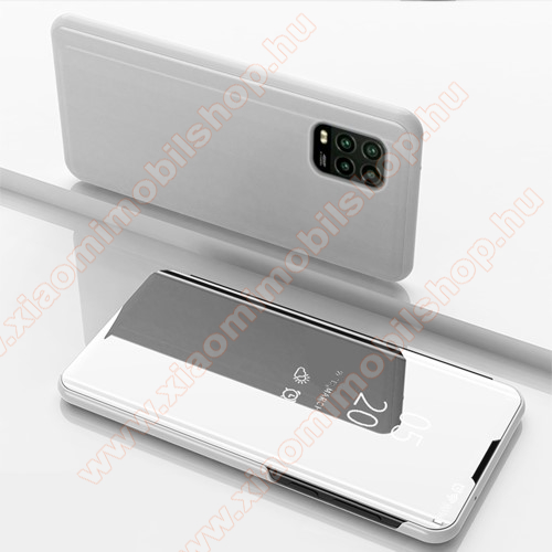 Notesz / flip tok - EZÜST - oldalra nyíló áttetsző tükrös flip cover, asztali tartó funkció, műanyag belső - Xiaomi Mi 10 Lite 5G / Xiaomi Mi 10 Youth 5G / Xiaomi Mi 10 Lite Zoom