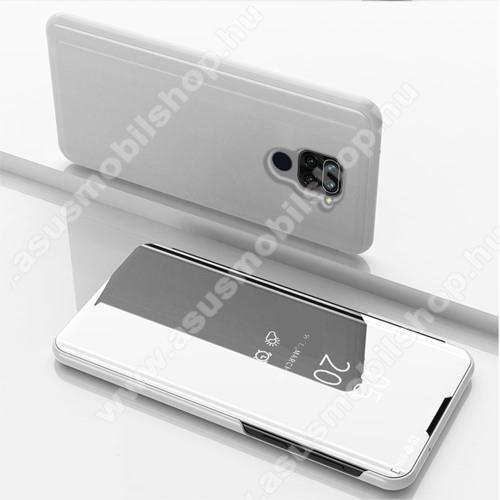 Notesz / flip tok - EZÜST - oldalra nyíló áttetsző tükrös flip cover, asztali tartó funkció, műanyag belső - Xiaomi Redmi Note 9 / Xiaomi Redmi 10X 4G
