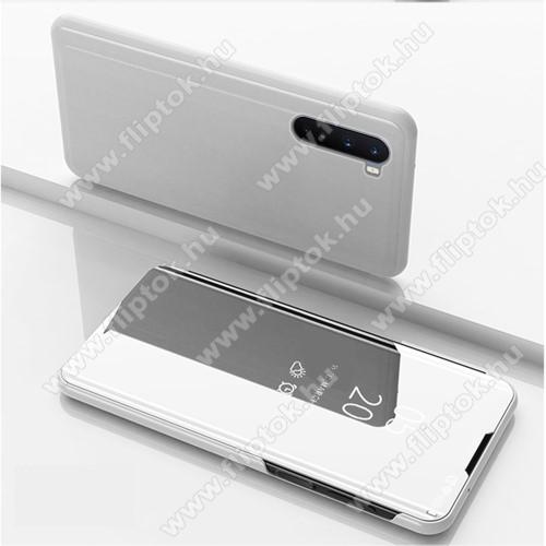 Notesz / flip tok - EZÜST - oldalra nyíló áttetsző tükrös flip cover, asztali tartó funkció, műanyag belső - OnePlus Nord