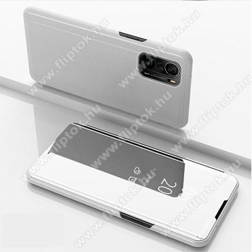 Notesz / flip tok - EZÜST - oldalra nyíló áttetsző tükrös flip cover, asztali tartó funkció, műanyag belső - Xiaomi Redmi K40 / Redmi K40 Pro / Redmi K40 Pro Plus / Mi 11i / Poco F3