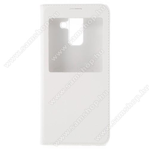 Notesz / flip tok - FEHÉR - oldalra nyíló ablakos flip cover, hívószámkijelző kivágás, műanyag belső - SAMSUNG SM-A605G Galaxy A6 Plus (2018)