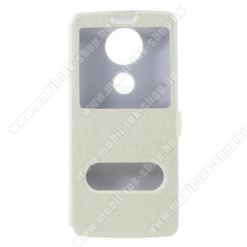 Notesz / flip tok - FEHÉR - oldalra nyíló ablakos flip cover, asztali tartó funkció, mágneses záródás, hívásfelvétel - MOTOROLA Moto E5 Plus (2018)