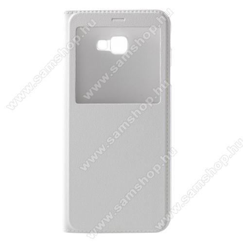 Notesz / flip tok - FEHÉR - oldalra nyíló ablakos flip cover, hívószámkijelző kivágás, műanyag belső - SAMSUNG SM-J415F Galaxy J4+