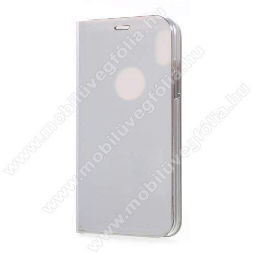Notesz / flip tok - FEHÉR - oldalra nyíló áttetsző flip cover, asztali tartó funkció - APPLE iPhone X / APPLE iPhone XS