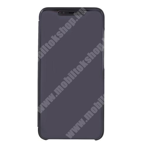Notesz / flip tok - FEKETE - oldalra nyíló áttetsző tükrös flip cover, asztali tartó funkció, műanyag belső - Xiaomi Mi 8 Explorer / Xiaomi Mi 8 Pro
