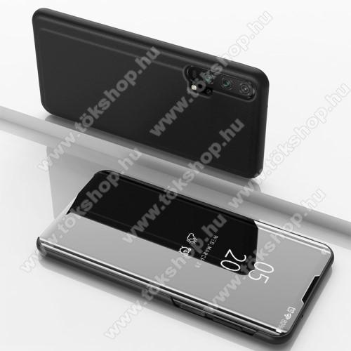 Notesz / flip tok - FEKETE - oldalra nyíló áttetsző tükrös flip cover, asztali tartó funkció, műanyag belső - HUAWEI Honor 20 Pro