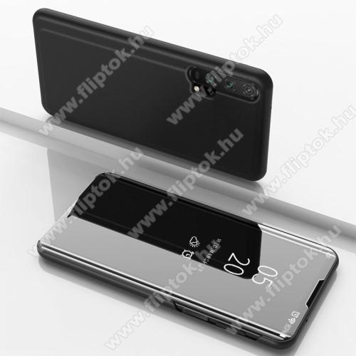 Notesz / flip tok - FEKETE - oldalra nyíló áttetsző tükrös flip cover, asztali tartó funkció, műanyag belső - HUAWEI Honor 20 / HUAWEI Honor 20S / HUAWEI nova 5T / HUAWEI Honor 20 Pro
